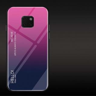 Für Huawei Mate 20 Pro Color Rainbow Effekt Glas Cover Pink Tasche Hülle Etui
