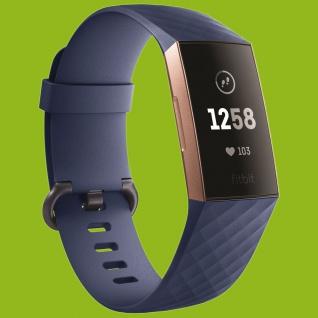 Für Fitbit Charge 3 Kunststoff Silikon Armband für Männer Größe L Navy-Blau Uhr
