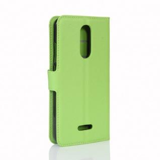 Tasche Wallet Premium Grün für Wiko Upulse Lite Hülle Case Cover Etui Schutz Neu - Vorschau 3