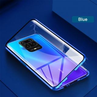 Beidseitige Magnet Glas Bumper Handy Tasche Blau für Xiaomi Redmi Note 9S Cover