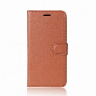 Tasche Wallet Premium Braun für Wiko Sunny 2 Hülle Case Cover Etui Schutz Neu - Vorschau 2