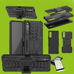 Für Sony Xperia L4 Handy Tasche Cover Hülle Etuis Outdoor Schwarz + H9 Glas Case
