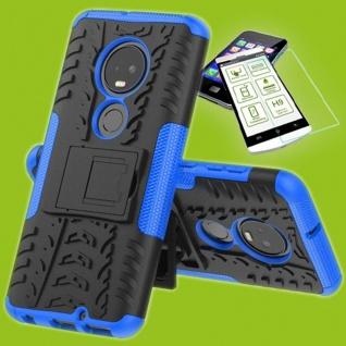 Für Motorola Moto G7 / G7 Plus Hybrid Tasche Etui Outdoor 2teilig Blau + H9 Glas