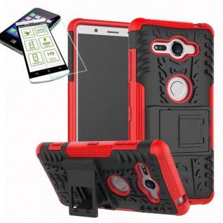 Hybrid Case 2 teilig Rot für Sony Xperia XZ2 Compact + 0, 26 H9 Hartglas Tasche