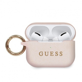 Guess Apple Airpods Pro Silicon Cover Ring Rosa Cover Tasche Case Etui Halter
