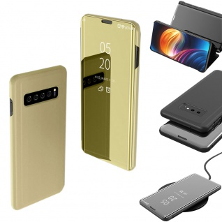 Für Samsung Galaxy S10 Plus G975F 6.4 Zoll Clear View Smart Cover Gold Tasche - Vorschau 2