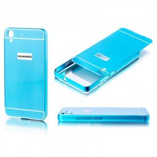 Alu Bumper 2 teilig mit Abdeckung Blau für Huawei Y6 Tasche Hülle Case Cover Neu