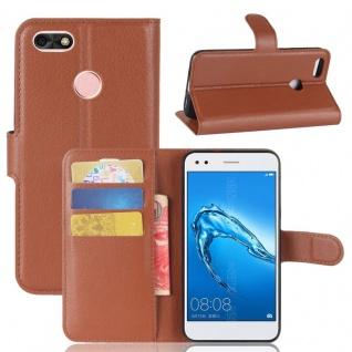 Tasche Wallet Premium Braun für Huawei Y6 Pro 2017 / Enjoy 7 Hülle Case Cover