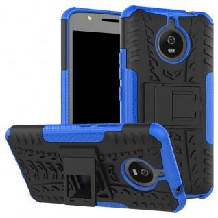 Hybrid Case 2teilig Outdoor Blau Tasche Hülle für Motorola Moto E4 Plus Cover
