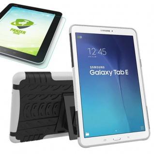 Hybrid Outdoor Tasche Weiß für Samsung Galaxy Tab E 9.6 T560 + 0.4 Hartglas