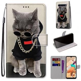 Für LG K41S / K51S Kunst-Leder Handy Tasche Motiv 2 Hülle Etuis Cover Schutz Neu