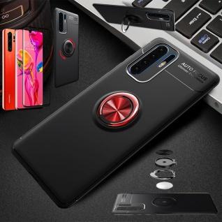 Für Huawei P30 Pro Magnet Metall Ring Dünn Schwarz / Rot Tasche Etuis + 4D Glas