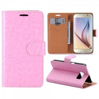 Schutzhülle Rosa für Samsung Galaxy S7 G930 G930F Bookcover Tasche Hülle Case