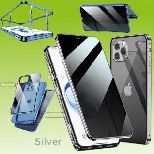 Beidseitiger Magnet Glas Bumper Privacy Silber für Apple iPhone 12 Mini Tasche