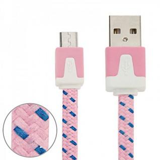 1m USB Daten und Ladekabel Rosa für alle Smartphone und Tablet Micro USB Zubehör