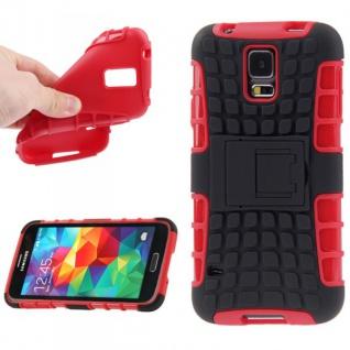 Hybrid Case 2teilig Robot Rot Cover Hülle Zubehör Etui für Samsung Galaxy S5 S 5
