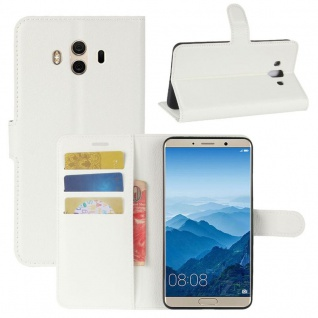Tasche Wallet Premium Weiß für Huawei Mate 10 Hülle Case Cover Etui Schutz Neu