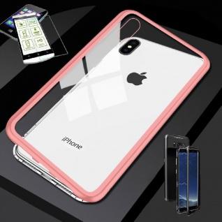 Für Apple iPhone XS MAX Magnet Glas Tasche Rosa / Transparent + 0, 26 H9 Glas Neu