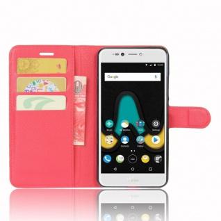 Tasche Wallet Premium Rot für Wiko Upulse Lite Hülle Case Cover Etui Schutz Neu - Vorschau 5