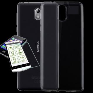 Silikoncase Transparent Tasche + 0, 26 H9 Glas für Nokia 1 Plus Hülle Cover Etuis