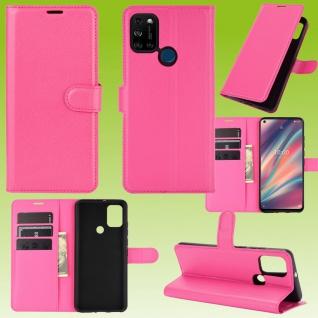 Für Wiko View 5 / 5 Plus Handy Tasche Pink Etuis Kunst-Leder Cover Hülle Case