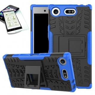 Hybrid Case 2 teilig Blau für Sony Xperia XZ1 Compact + 0, 3 H9 Hartglas Tasche