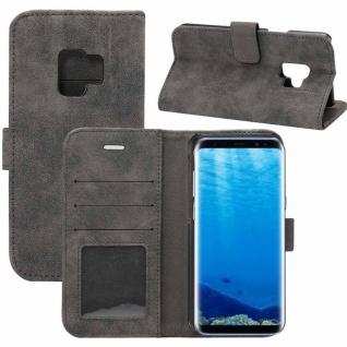 Deluxe Retro Tasche Wallet Schwarz für Samsung Galaxy S9 G960F Hülle Case Cover