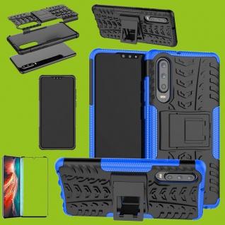 Für Huawei P30 Hybrid Tasche Etuis 2teilig Blau Hülle + 4D Curved H9 Glas Cover