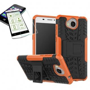 Hybrid Case Tasche Outdoor 2teilig Orange für Huawei Y6 2017 Hülle Hartglas