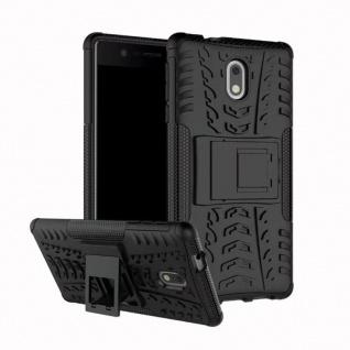 Hybrid Case 2teilig Outdoor Schwarz Tasche Hülle für Nokia 2 Schutz Etui Cover