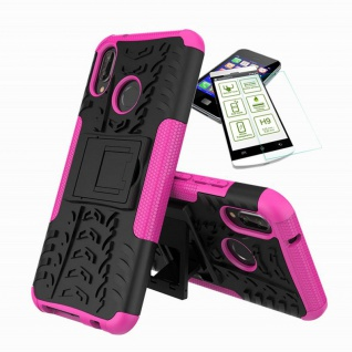 Für Huawei P20 Lite Hybrid Tasche Outdoor 2teilig Pink Hülle + H9 Glas Hülle Neu