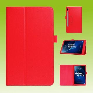 Für Samsung Galaxy Tab S7 Plus / S7 FE Rot Kunst Leder Hülle Tablet Tasche Etuis Cover