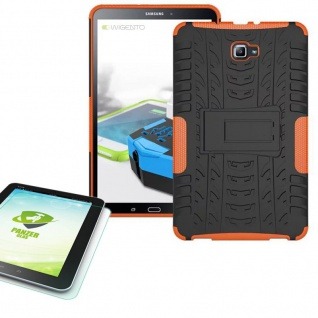 Hybrid Outdoor Tasche Orange für Samsung Galaxy Tab A 10.1 T580 + 0.4 Hartglas