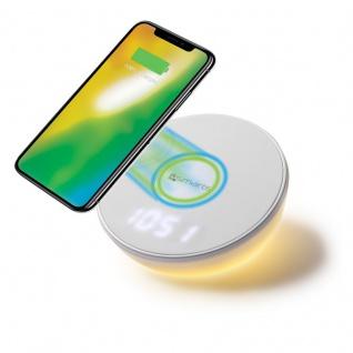 Induktive Schnellladestation Ladestation Qi Wireless Charger Uhr & Motion Light