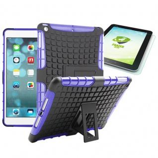 Hybrid Outdoor Schutzhülle Lila für iPad Air 1 Tasche + 0.4 H9 mm Panzerglas Neu