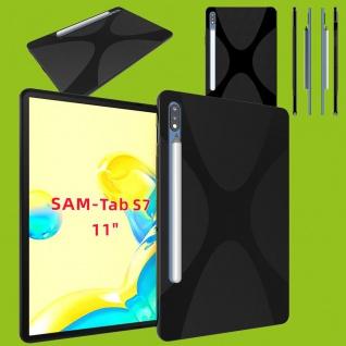 Silikon TPU X-Line Schwarz Hülle Tasche für Samsung Galaxy Tab S7 T870 / T875