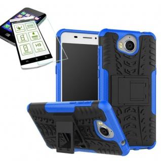 Hybrid Case Tasche Outdoor 2teilig Blau für Huawei Y6 2017 Hülle Hartglas Neu
