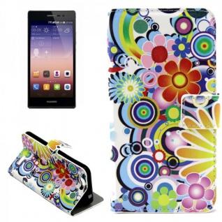Schutzhülle Muster 1 für Huawei Ascend G7 Bookcover Tasche Case Hülle Wallet Neu
