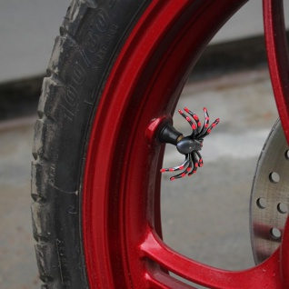 2x Lustiger Motorrad Reifenventil Verschluss Kappe Aufsatz Spinne Rot Helloween