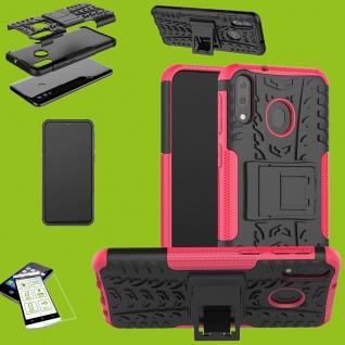 Für Huawei P30 Lite Hybrid Case Tasche Outdoor 2teilig Pink + H9 Glas Etuis Neu