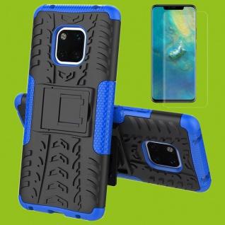 Für Huawei Mate 20 Hybrid Tasche Cover Outdoor 2teilig Blau Hülle + H9 Glas Etui