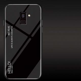 Für Samsung Galaxy J4 Plus J415F Color Effekt Glas Cover Schwarz Tasche Hülle