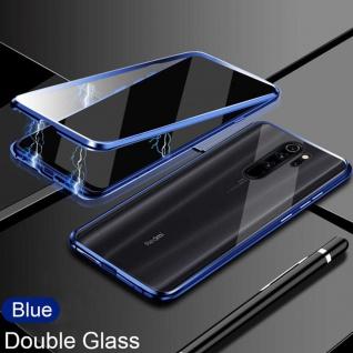 Beidseitiger 360 Grad Magnet Glas Bumper Tasche Blau für Xiaomi Redmi Note 8 Pro