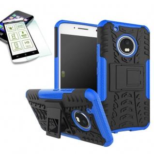 Hybrid Case 2teilig Blau für Lenovo Moto G5 Plus + Hartglas Tasche Hülle Neu - Vorschau 1
