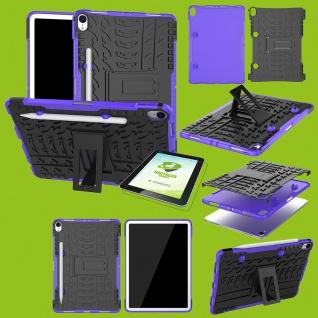 Für Apple iPad iPad Air 10.5 2019 3. Gen Hybrid Lila Tasche + 0.4 H9 Glas Etuis