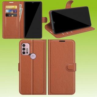 Für Motorola Moto G30 / G10 Smart Handy Tasche Braun Etuis Kunst-Leder Hülle Neu