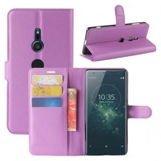 Tasche Wallet Premium Lila für Sony Xperia XZ2 Hülle Case Cover Schutz Etui Neu