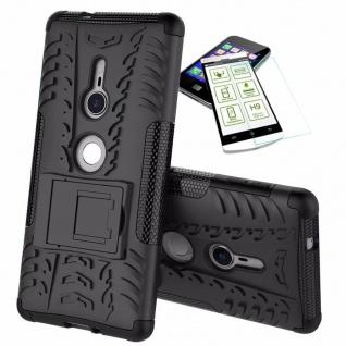 Für Sony Xperia XZ2 Hybrid Case 2 teilig Schwarz Hülle + 0, 3 mm H9 Glas Tasche