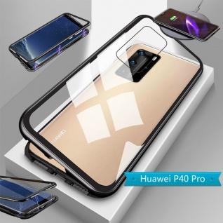 Für Huawei P40 Pro Magnet Metall Glas Schwarz Handy Tasche Hülle Case Cover Etui