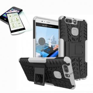 Hybrid Case Tasche Outdoor 2teilig Weiß für Huawei P9 + H9 Hartglas Cover Etui